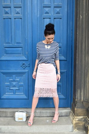 light pink laser cut midi skirt
