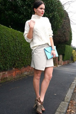 white knit H&M Trend sweater - beige leather Topshop skirt