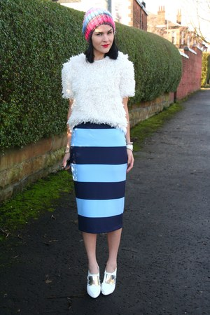 fluffy Topshop jumper - striped pencil Zara skirt