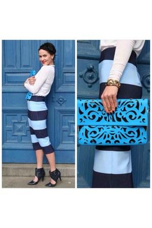 blue striped blue Zara skirt