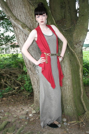 Dunnes shoes - maxi dress Penneys dress - Penneys vest - thrifted vintage belt