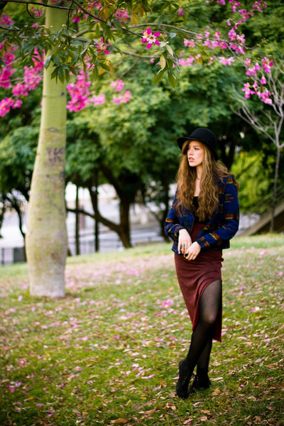 black Marshalls hat - blue crossroads jacket - brick red crossroads skirt
