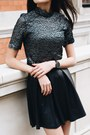 Silver-lace-nobodys-child-top-black-leather-h-m-skirt