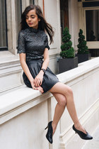 black leather H&M skirt - silver lace Nobodys Child top