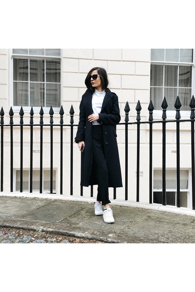white turtleneck Topshop top - black Zara coat - black petite next pants