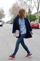 navy Stradivarius coat - crimson Adidas shoes - navy Levis jeans