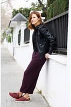 black Mango jacket - black Mango top - crimson Zara pants
