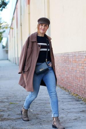 tan Bimba & Lola coat - black Zara boots - sky blue Levis jeans