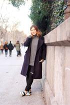 black Mango shoes - navy Bimba y Lola coat - black Zara jeans