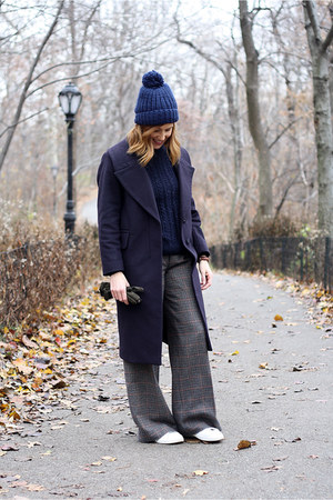Bimba & Lola coat - navy Mango jumper - Mango pants