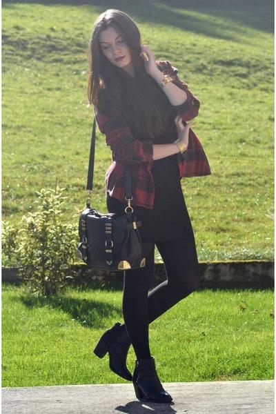 black H&M boots - black H&M dress - crimson BDG shirt - black Aldo bag