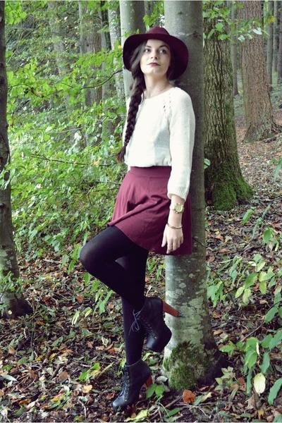 maroon H&M hat - black Jeffrey Campbell heels - ivory H&M jumper