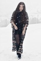 black H&M boots - black H&M dress - black Spell Designs cardigan