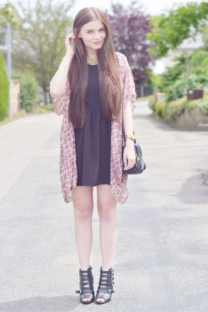 black dress - black Primark sandals - brick red cardigan