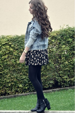 black H&M boots - black brandy melville dress - periwinkle Missguided jacket