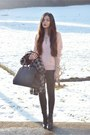 Black-mango-coat-light-pink-h-m-sweater-black-h-m-bag-black-h-m-heels