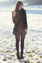 black H&M boots - black brandy melville dress - black H&M jacket