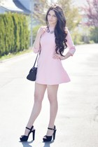 pink Zara dress - black Aldo bag - silver Zara necklace