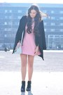 Black-h-m-boots-bubble-gum-zara-dress-black-zara-coat-light-blue-aldo-bag