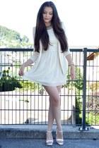 white H&M dress - white H&M blazer - white Zara heels - gold Michael Kors watch