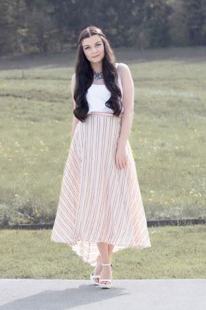 white H&M top - white Zara heels - light pink Spell Designs skirt