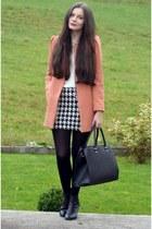 light orange Zara coat - black H&M boots - black H&M bag - white Zara skirt