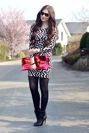 black H&M boots - black H&M dress - hot pink H&M bag - black H&M sunglasses