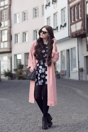 black new look boots - black new look dress - bubble gum Missguided coat