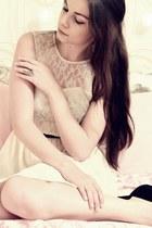 white H&M dress - black Steve Madden wedges - silver H&M ring
