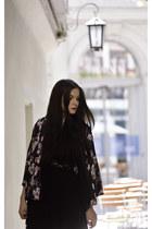 black kimono H&M jacket - black lace H&M dress