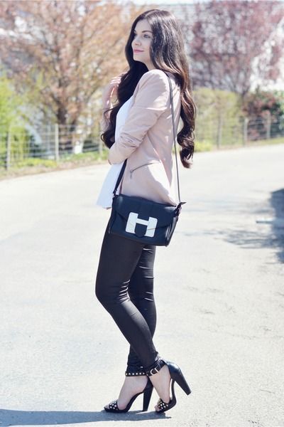 black Aldo bag - light pink Vero Moda blazer - white Primark top