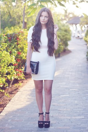 black c&a bag - white Missguided dress - black H&M heels