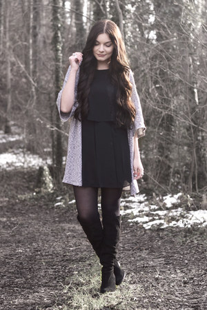 black Zara boots - black BCBGeneration dress - heather gray H&M cardigan