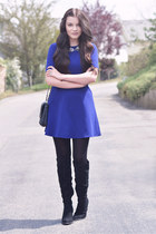 black Zara boots - navy Zara dress - black Mango bag - silver Zara necklace