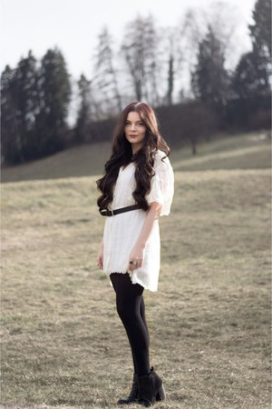 new look boots - white dress - silver necklace - black H&M belt