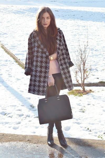 black Mango coat - light pink H&M sweater - black H&M bag - black H&M heels