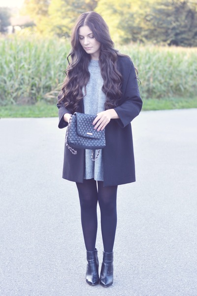 heather gray H&M sweater - black H&M boots - black H&M coat - black H&M tights