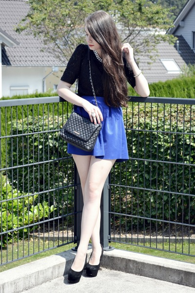 blue H&M skirt - black Mango bag - black Vero Moda top