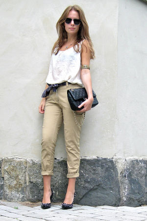 black DinSko shoes - beige H&amp;M pants - black Chanel bag