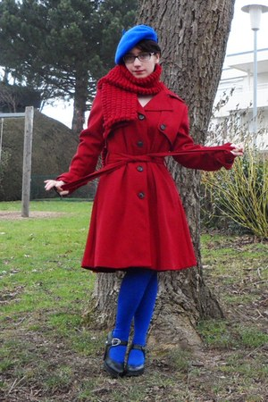 blue H&M hat - red H&M coat - red DIY scarf