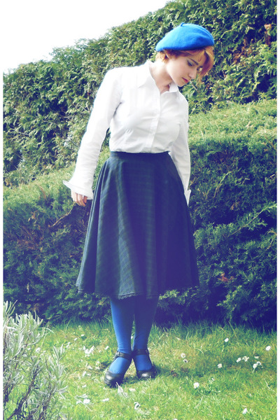 blue H&M hat - navy DIY skirt - blue falke stockings