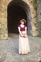 cream Zara skirt - maroon Vero Moda shirt - brown thrifted vintage purse