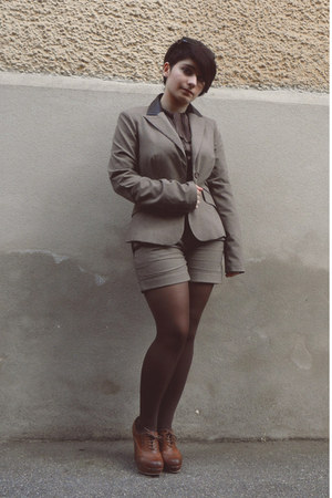 tan Orsay blazer - brown elite bag - tan Orsay shorts - brown Deichmann heels