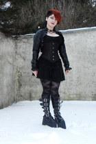 black Demonia boots - black Orsay jacket - black corset top