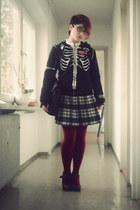black vintage dress - black Poizon Industries hoodie - white Stradivarius blouse