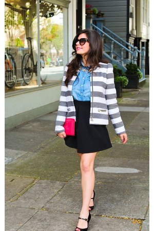 heather gray striped blazer Zara blazer - hot pink clutch clutch bag