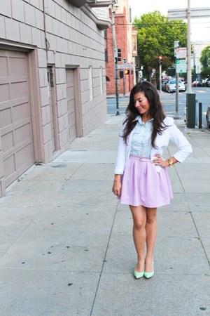 H&M blazer - Lulus shirt - chambray H&M shirt - Diane Von Furstenburg heels