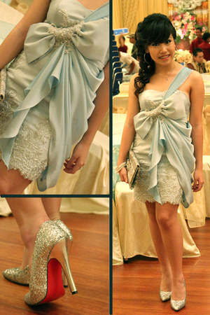 light blue silk Prisca & Jessie Couture dress - silver silver Christian Loubouti