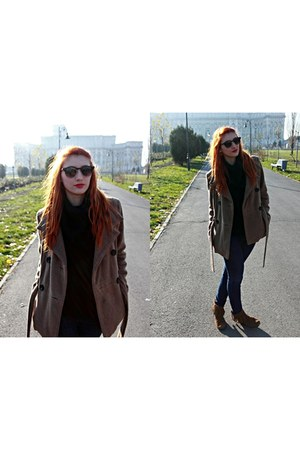 brown Minnetonka boots - light brown Zara coat - black H&M sweater