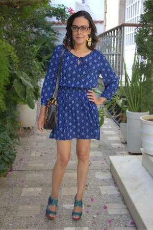 blue boho Forever 21 dress - brown leopard print LUIZA BARCELOS bag